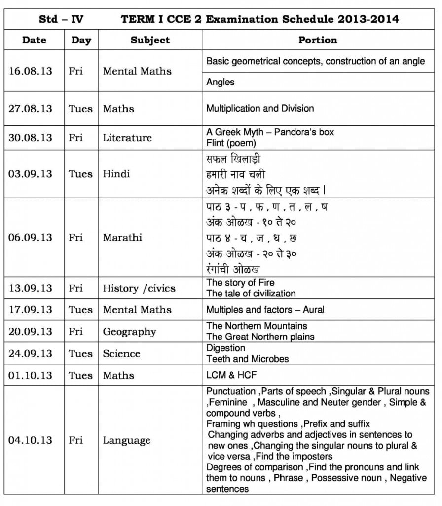 Universal High-CCE-1: Term-1- Examination Schedule for Std. IV