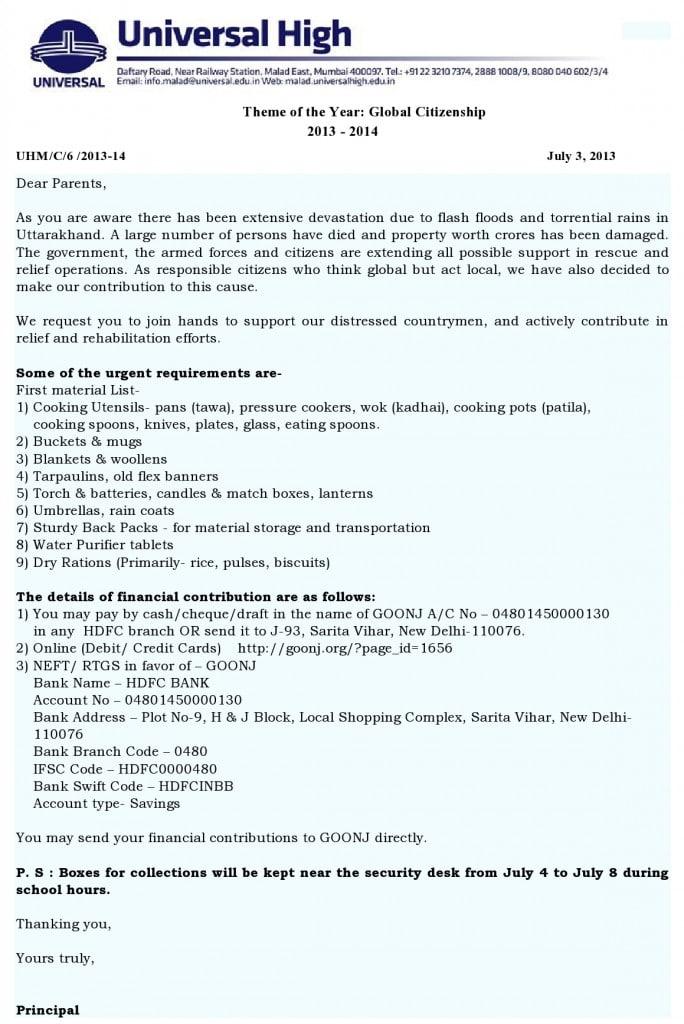 Universal High: Uttarakhand Relief Efforts.