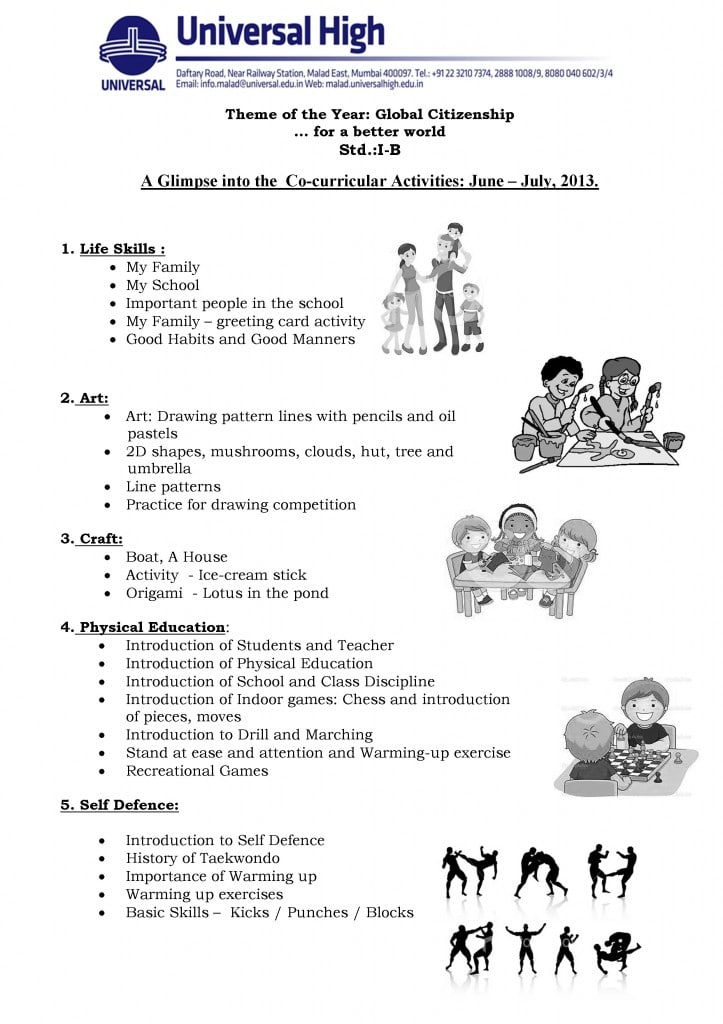 Std. I B – A Glimpse into the  Co-curricular Activities: June – July, 2013.