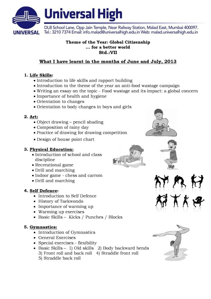 Std. VII – A Glimpse into the  Co-curricular Activities: June – July, 2013.