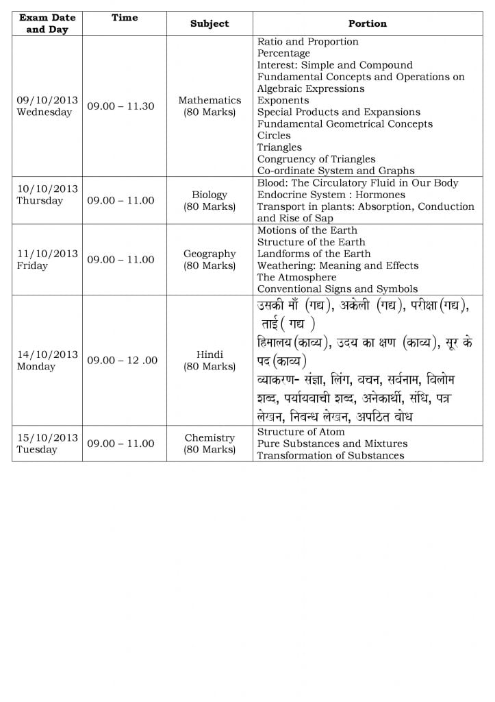 Std. VIII – First Semester Examination Time Table and Portion 2013-2014