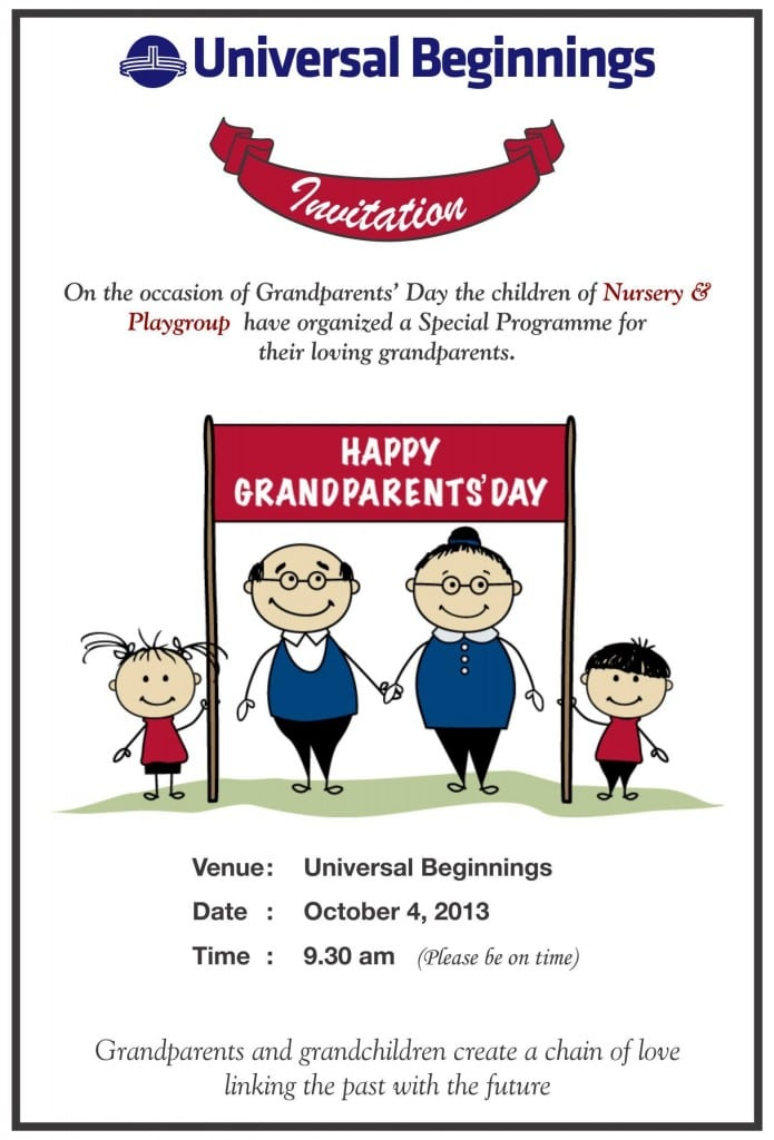 Playgroup and Nursery: 'Grandparents Day' invitation card