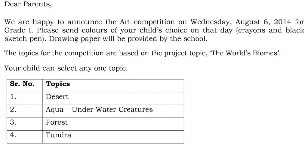 Circular for Art Competition – Grade I.