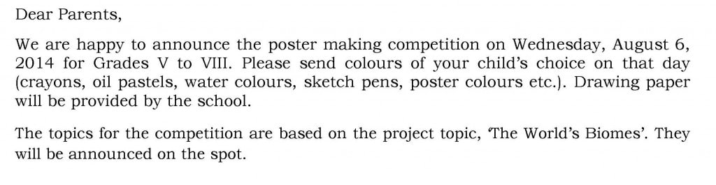 Circular for Poster Making Competition – Grades V to VIII.