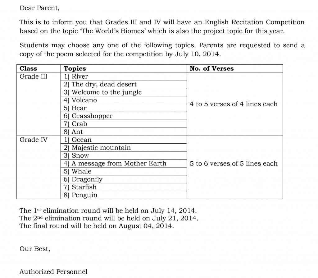 Grade III and Grade IV – English Recitation Competition.