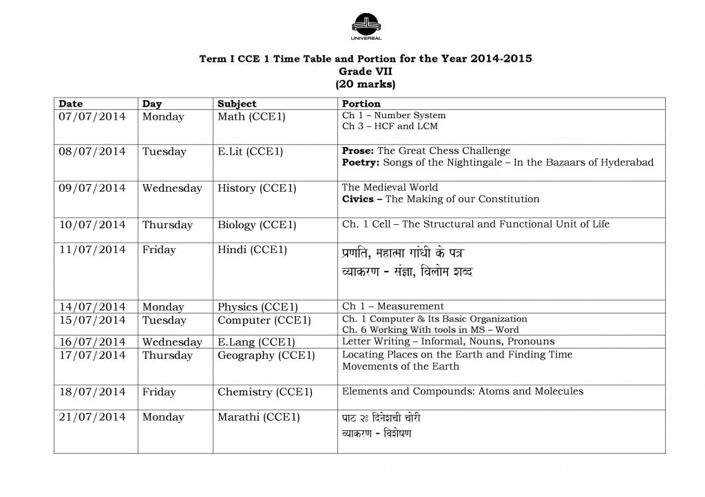 Grade VII – Term I – CCE I – Examination Schedule 2014-2015.