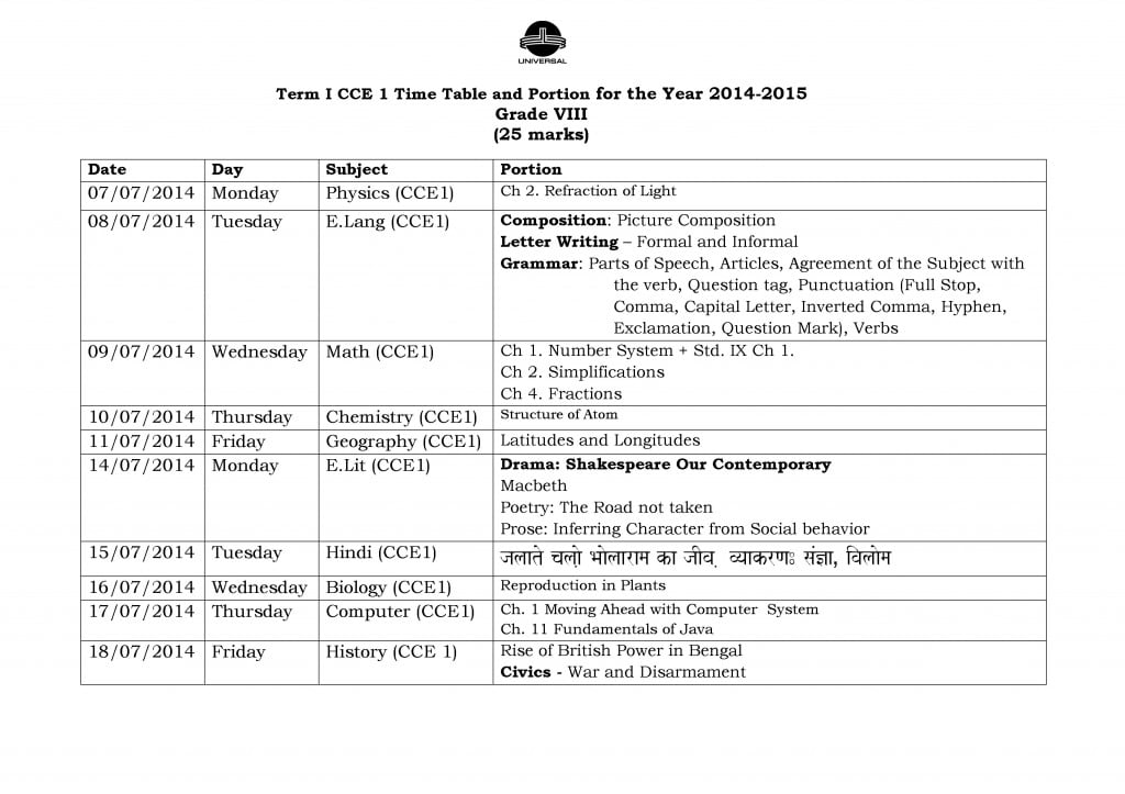 Grade VIII – Term I – CCE I – Examination Schedule 2014-2015.