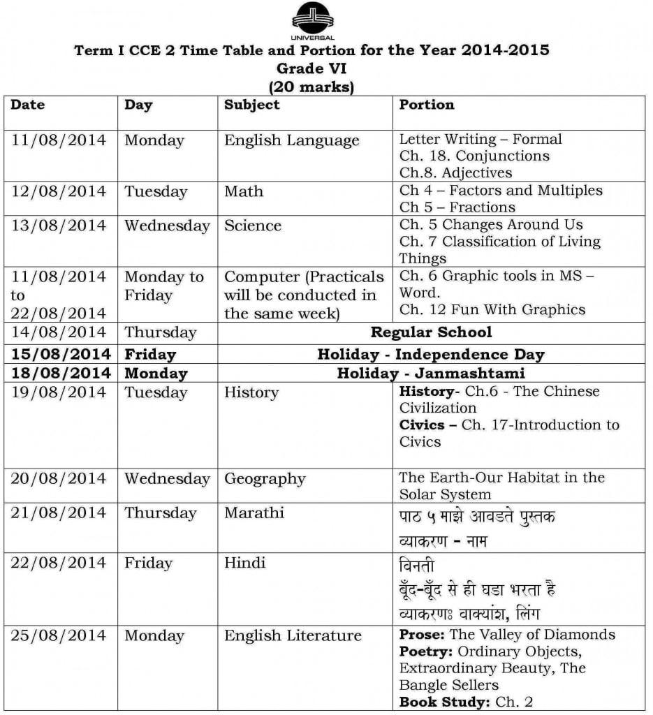 Grade VI – Term I – CCE 2 – Examination Schedule 2014-2015.
