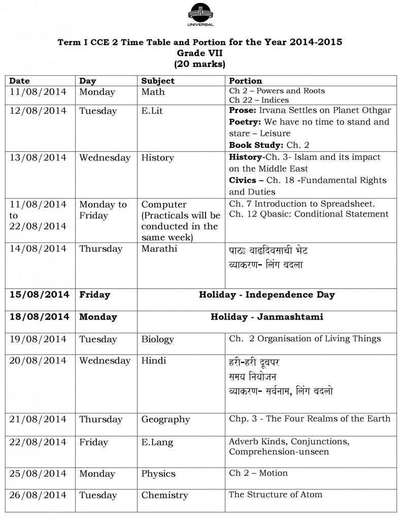 Grade VII – Term I – CCE 2 – Examination Schedule 2014-2015.