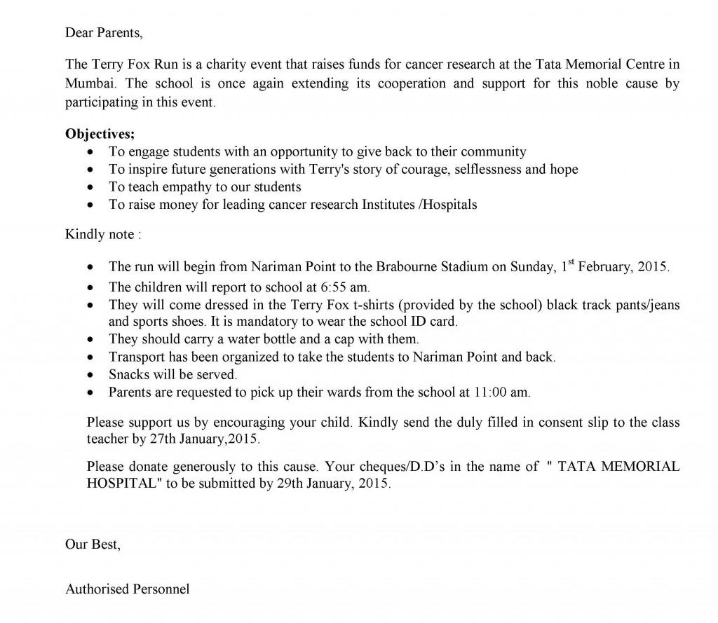 UHM/C/47/2014-2015 – Grades VI to IX – Circular For Terry Fox Run.