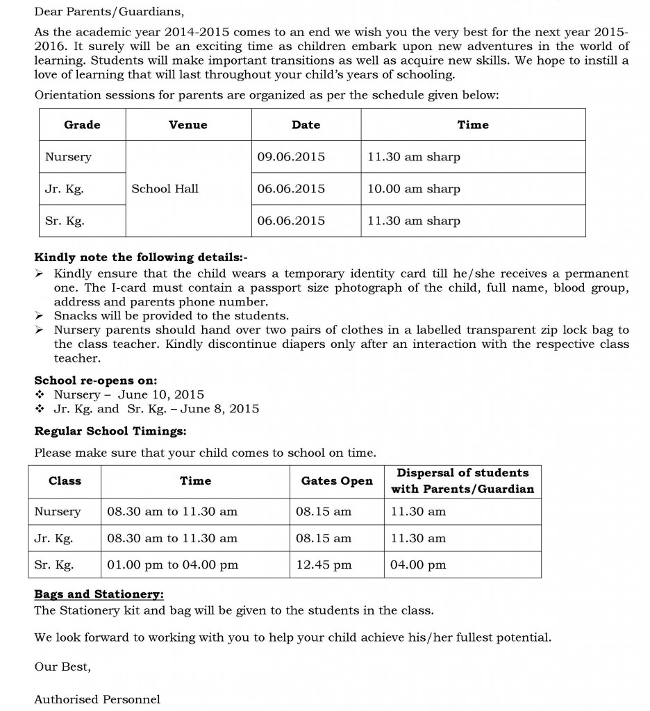 UB/C/61 – Important School Information.