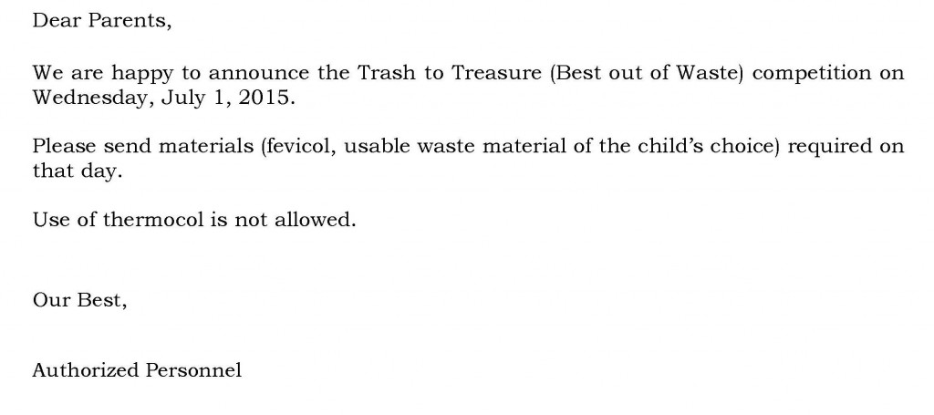 Grades I and II – Circular For Trash to Treasure Competition.