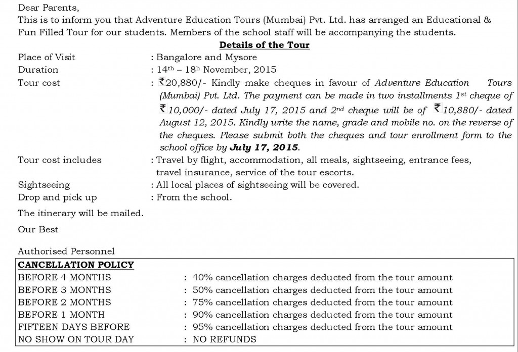 Grades – V – IX – Circular – Long Tour Bangalore and Mysore.