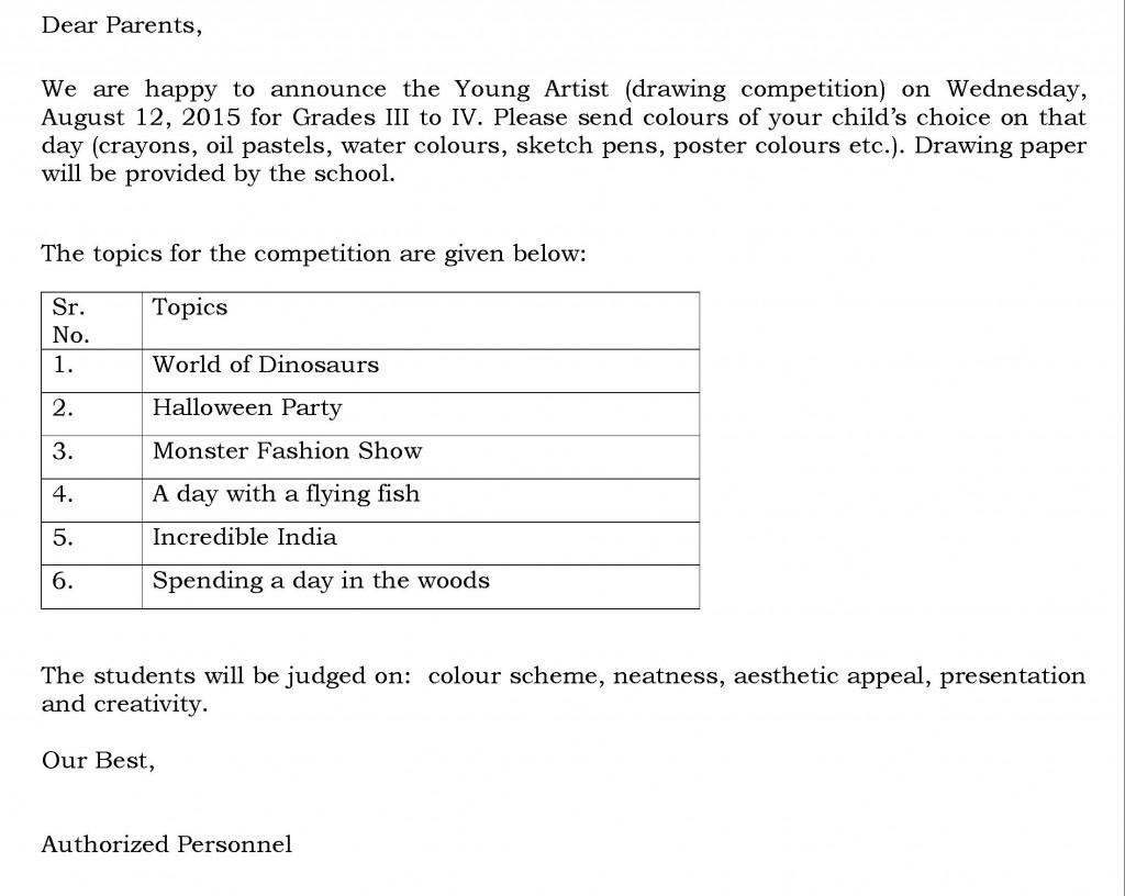 [21] Circular - Drawing competition - Grades III and IV