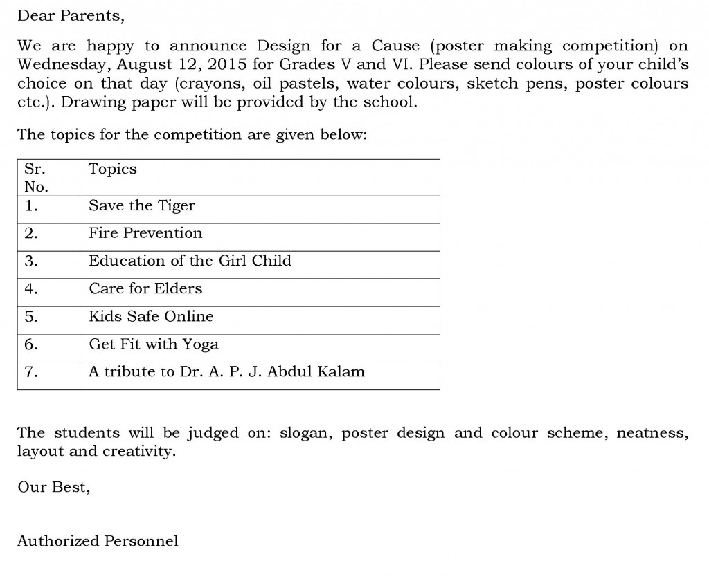 Grades V and VI – Circular For Poster Making Competition.