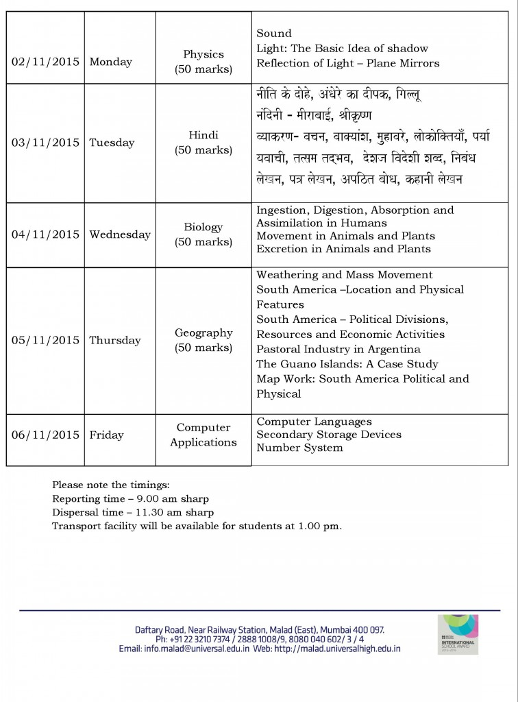 Grade VII – Term I Semester I Time Table and Portion for the AY- 2015-16.