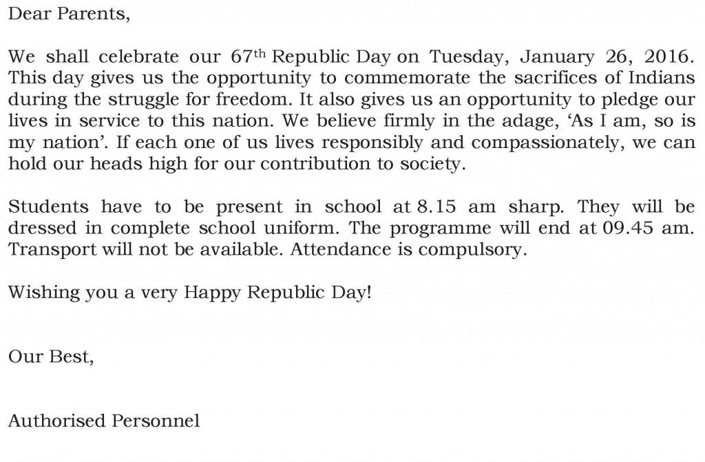 [83] Circular for Republic Day