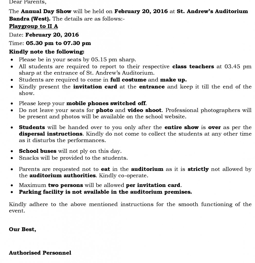 Jr. Kg and Sr. kg – Circular for Annual Day
