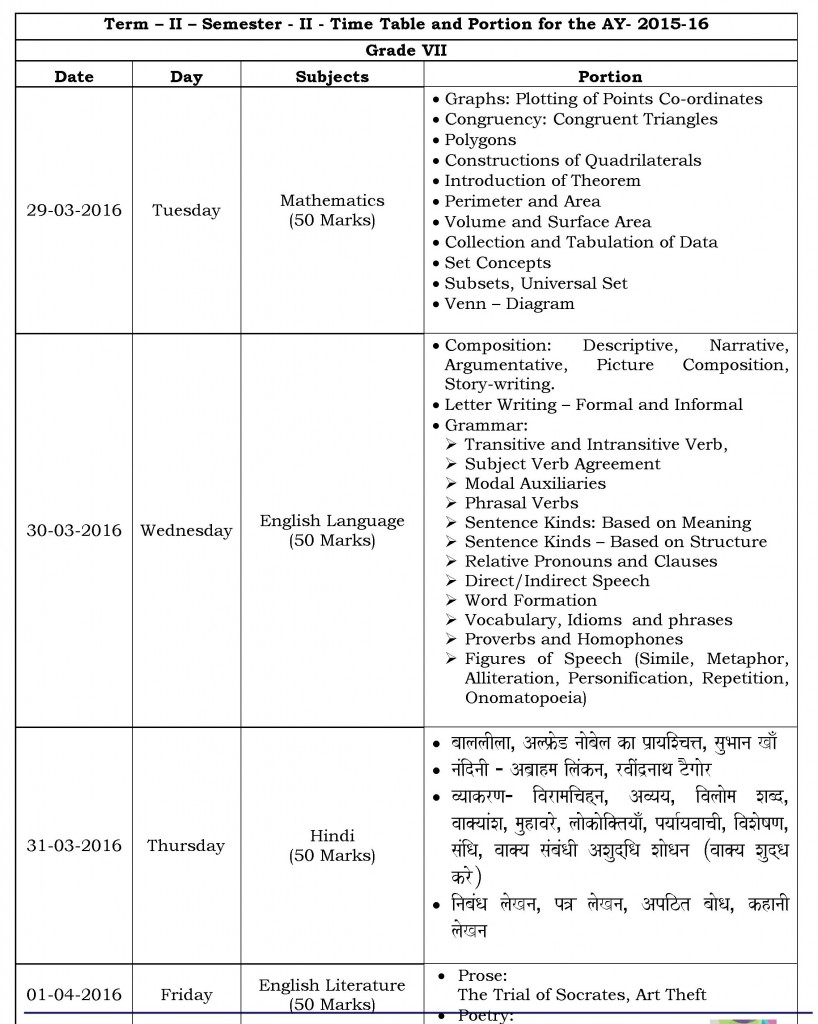 Grade VII- Term II Semester II- Time table and Portion for 2015-16.
