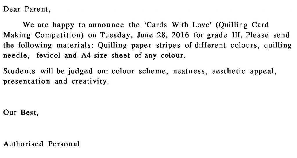 Grade III – Circular for Card Making Competition.