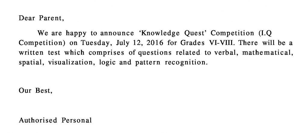 [09] circular - grades vi-viii knowledge quest competition (i.q competition) format
