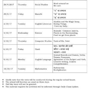Class III – Second Formative Assessment Schedule – 2017-18.