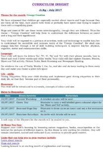 Junior Kg Curriculum Insight July 2017