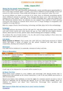 Junior Kg Curriculum Insight August 2017