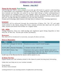 Nursery Curriculum Insight July 2017