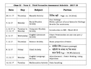 Class 3 Term II – Third Formative Assessment Schedule 2017-18