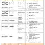 Class 2 Term I – First Formative Assessment Schedule 2018-19