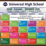 TASKS Calendar- December, 2018 for Primary & Secondary